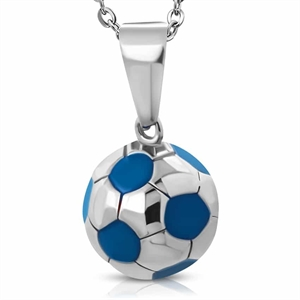 "Ketting ""Blue Football"" Roestvrij staal. Big 1,5 cm"